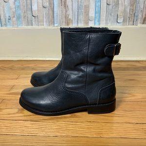 Boden 41 9.5 Black Leather Moto Biker Ankle Boot